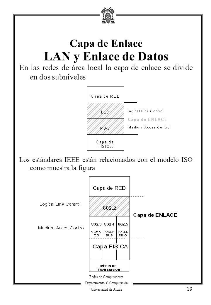 Redes de Computadores Departamento C.Computación Universidad de Alcalá 19 En las redes de área local la capa de enlace se divide en dos subniveles Los
