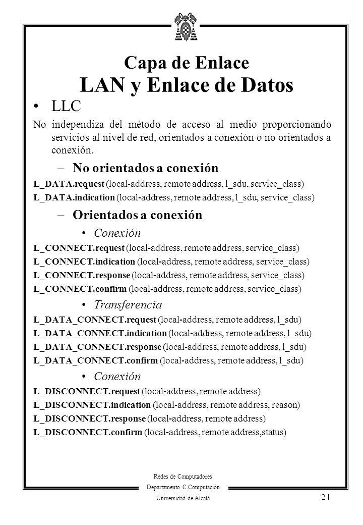 Redes de Computadores Departamento C.Computación Universidad de Alcalá 21 LLC No independiza del método de acceso al medio proporcionando servicios al