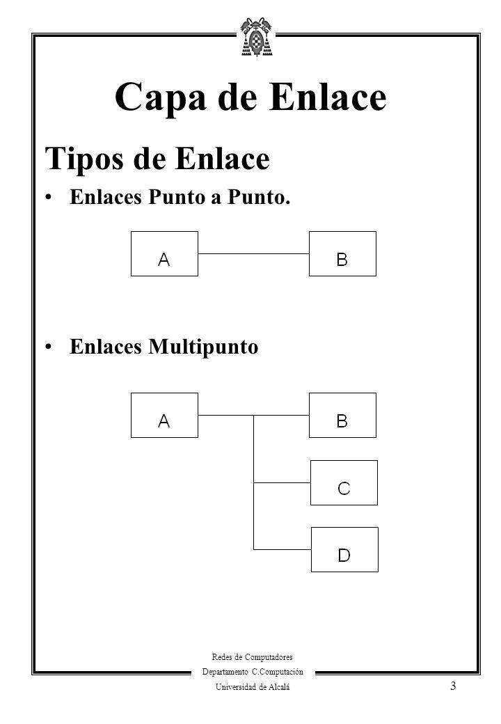 Redes de Computadores Departamento C.Computación Universidad de Alcalá 3 Capa de Enlace Tipos de Enlace Enlaces Punto a Punto. Enlaces Multipunto