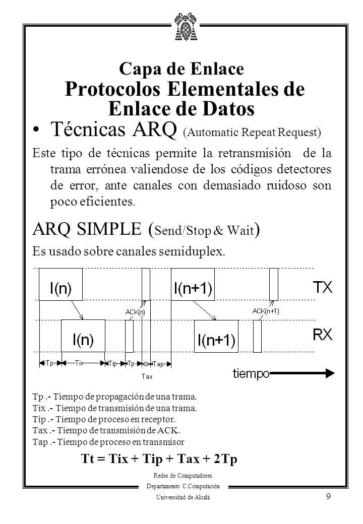 Redes de Computadores Departamento C.Computación Universidad de Alcalá 9 Técnicas ARQ (Automatic Repeat Request) Este tipo de técnicas permite la retr