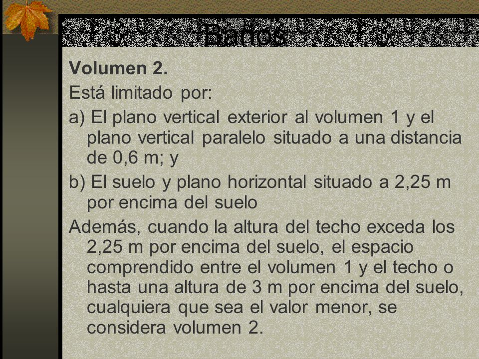 Baños Volumen 2. Está limitado por: a) El plano vertical exterior al volumen 1 y el plano vertical paralelo situado a una distancia de 0,6 m; y b) El