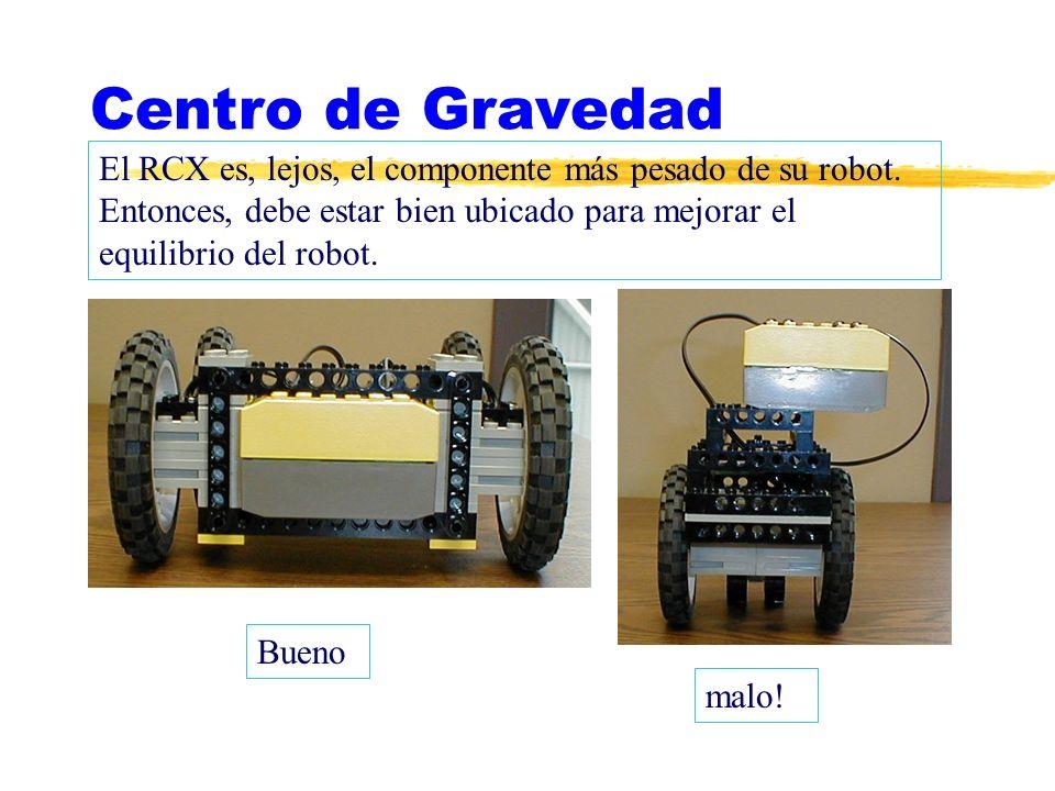 Centro de Gravedad El RCX es, lejos, el componente más pesado de su robot. Entonces, debe estar bien ubicado para mejorar el equilibrio del robot. Bue