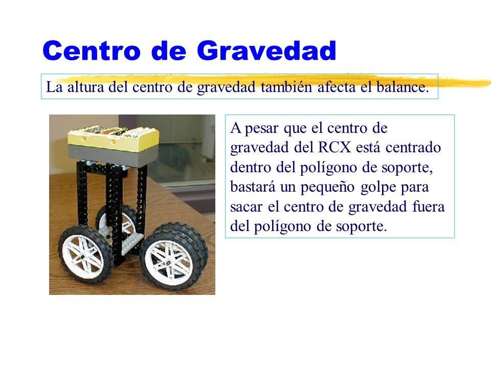 Centro de Gravedad La altura del centro de gravedad también afecta el balance. A pesar que el centro de gravedad del RCX está centrado dentro del polí