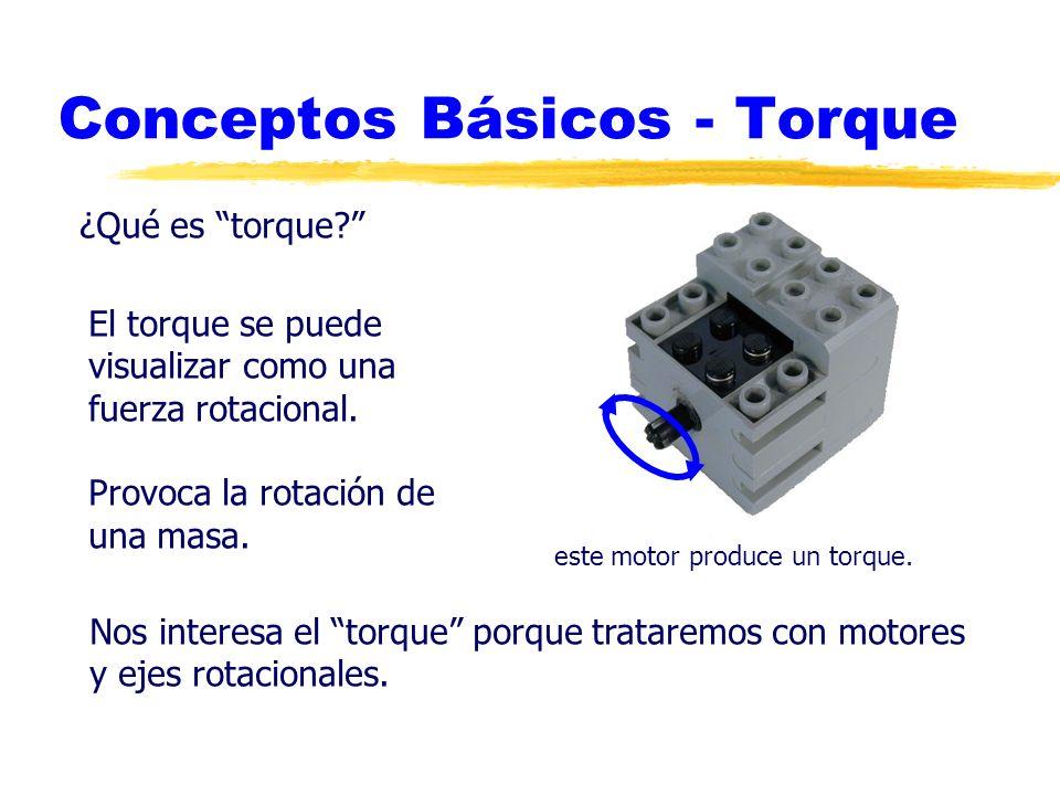 Conceptos Básicos - Torque ¿Qué es torque? El torque se puede visualizar como una fuerza rotacional. Provoca la rotación de una masa. Nos interesa el