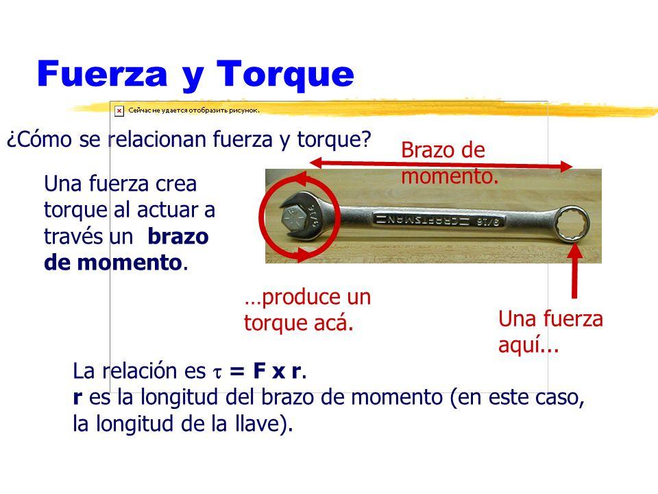 Fuerza y Torque ¿Cómo se relacionan fuerza y torque? Una fuerza aquí... …produce un torque acá. Brazo de momento. Una fuerza crea torque al actuar a t