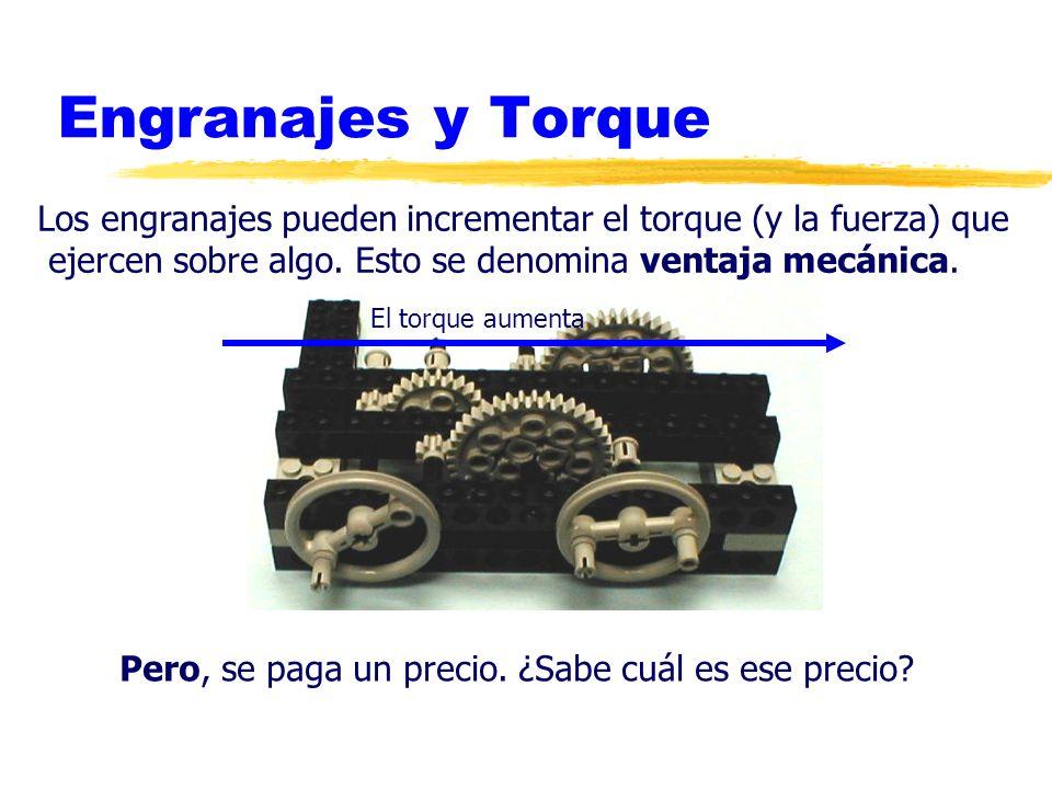 Engranajes y Torque Los engranajes pueden incrementar el torque (y la fuerza) que ejercen sobre algo. Esto se denomina ventaja mecánica. Pero, se paga