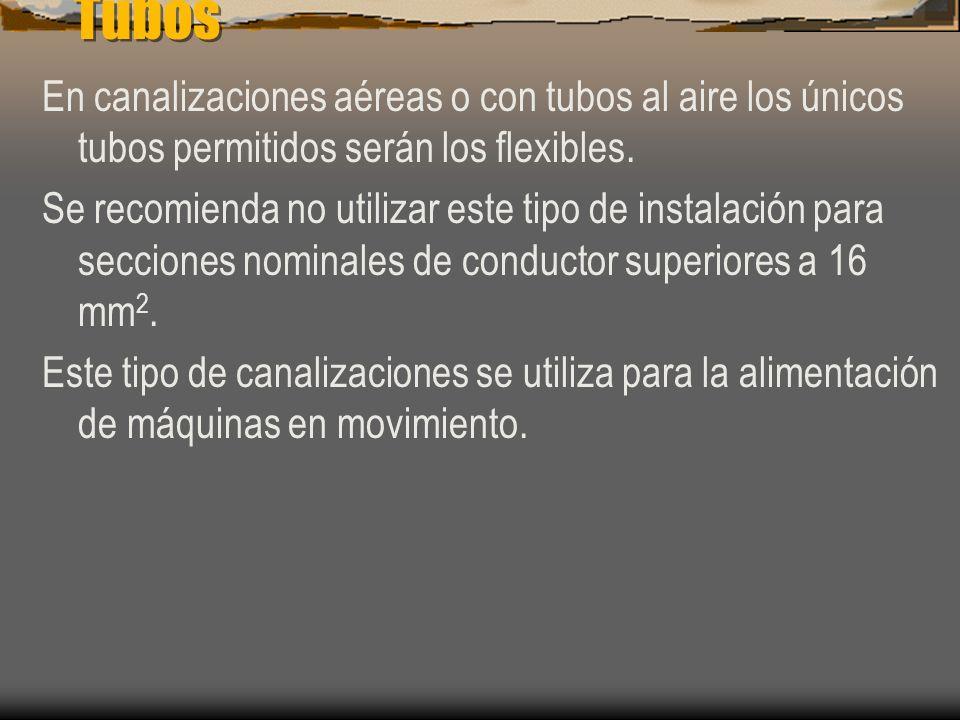 Tubos El numero multiplicador para los diferentes sistemas de instalación son : 2,5 para tubos en canalizaciones fijas en superficie. 3 para tubos en
