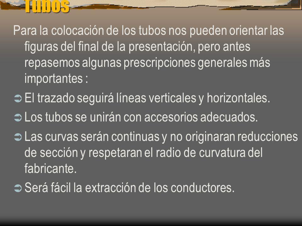 Tubos En canalizaciones aéreas o con tubos al aire los únicos tubos permitidos serán los flexibles. Se recomienda no utilizar este tipo de instalación