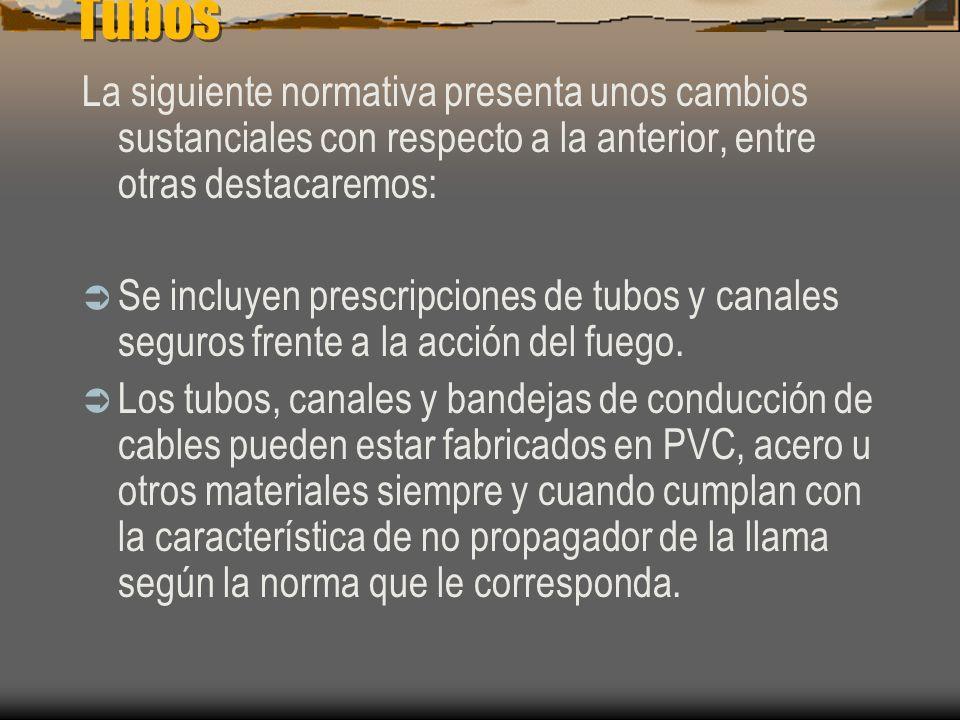 Tubos La siguiente normativa presenta unos cambios sustanciales con respecto a la anterior, entre otras destacaremos: El tipo de sistema de instalació