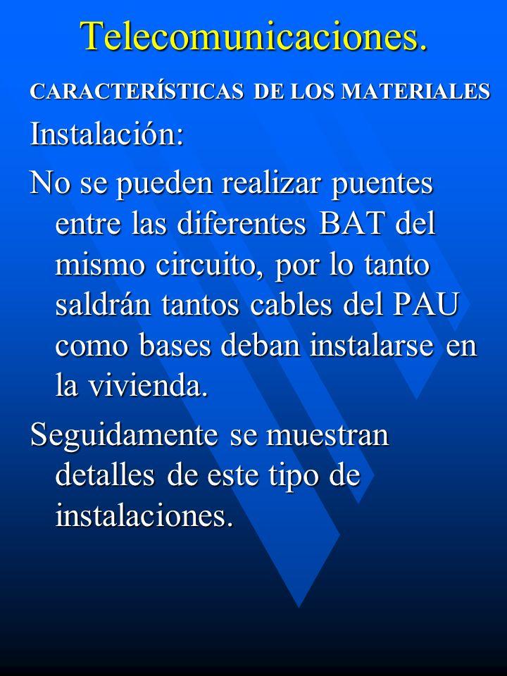 Telecomunicaciones. CARACTERÍSTICAS DE LOS MATERIALES Instalación: No se pueden realizar puentes entre las diferentes BAT del mismo circuito, por lo t