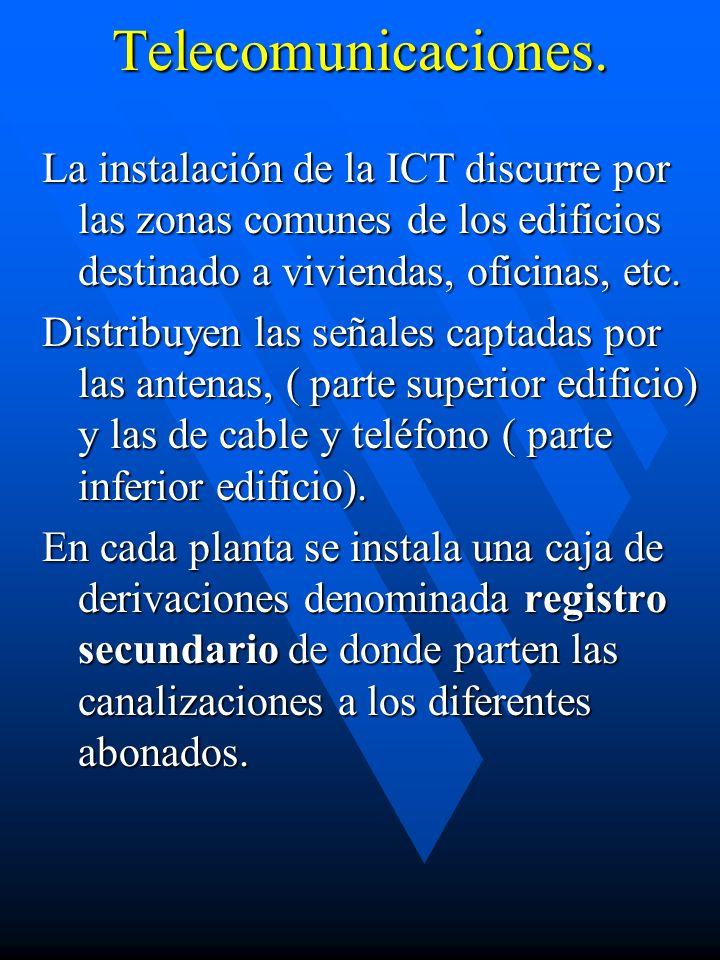 Telecomunicaciones. La instalación de la ICT discurre por las zonas comunes de los edificios destinado a viviendas, oficinas, etc. Distribuyen las señ