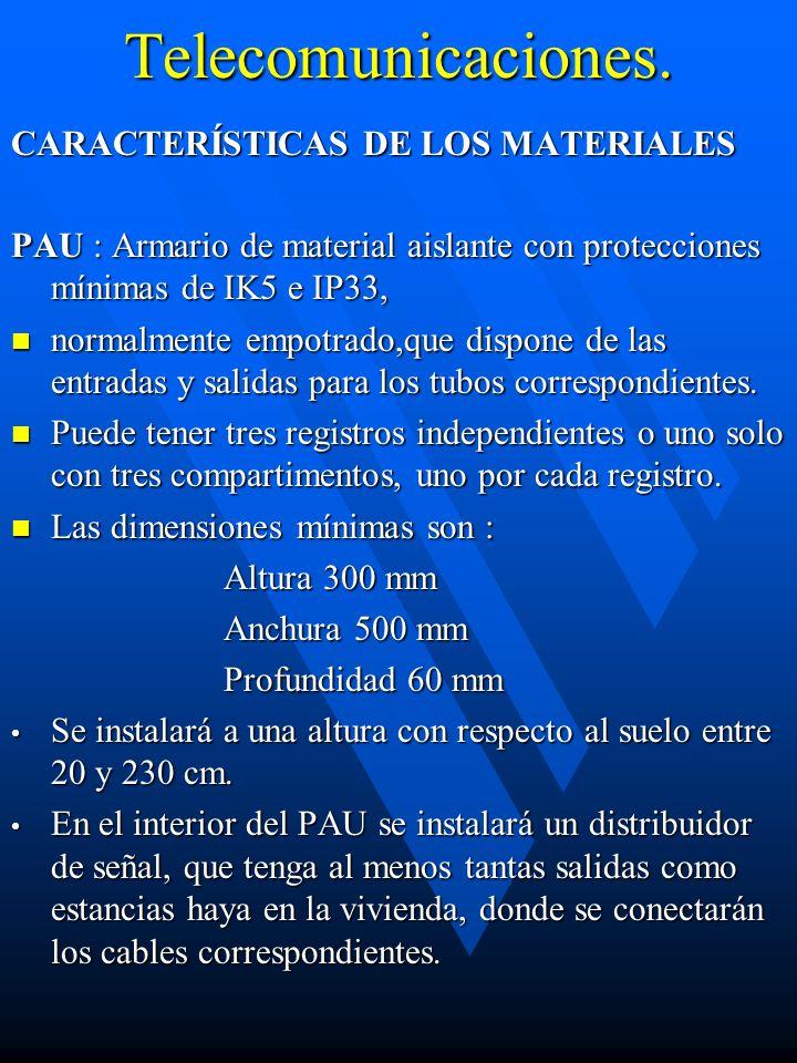 Telecomunicaciones. CARACTERÍSTICAS DE LOS MATERIALES PAU : Armario de material aislante con protecciones mínimas de IK5 e IP33, normalmente empotrado