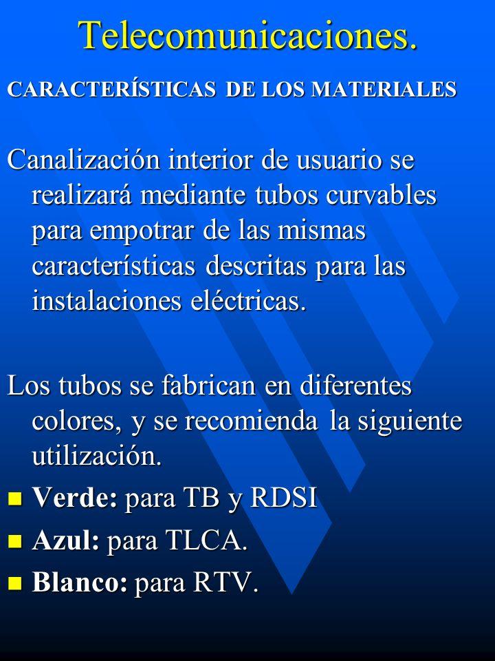 Telecomunicaciones. CARACTERÍSTICAS DE LOS MATERIALES Canalización interior de usuario se realizará mediante tubos curvables para empotrar de las mism
