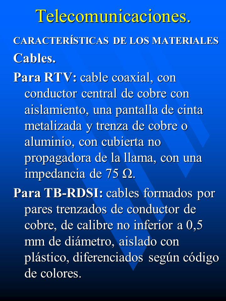 Telecomunicaciones. CARACTERÍSTICAS DE LOS MATERIALES Cables. Para RTV: cable coaxial, con conductor central de cobre con aislamiento, una pantalla de