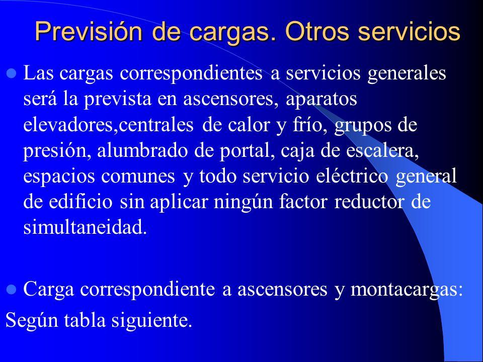 Previsión de cargas ascensores Tipo de aparato elevador Carga ( Kg) Nº personasVelocidad ( m/s) Potencia ( Kw) ITA -140050,634,5 ITA-240051,007,5 ITA-36308111,5 ITA-463081,6018,5 ITA-51000131,6029,5 ITA-61000132,5046,0