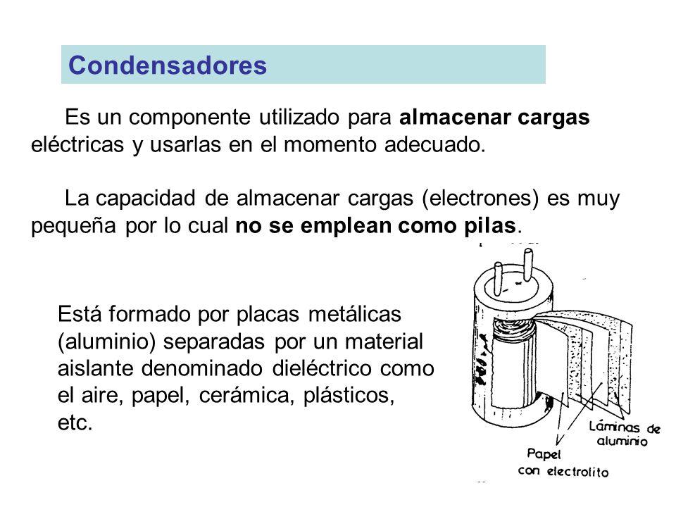 Es un componente utilizado para almacenar cargas eléctricas y usarlas en el momento adecuado. La capacidad de almacenar cargas (electrones) es muy peq