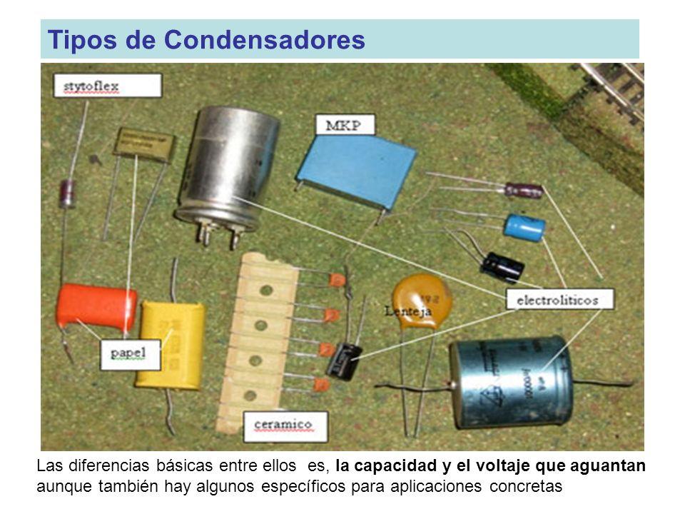 Tipos de Condensadores Las diferencias básicas entre ellos es, la capacidad y el voltaje que aguantan aunque también hay algunos específicos para apli