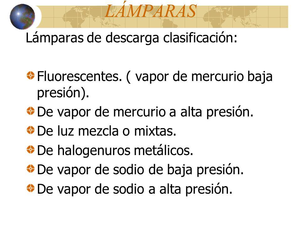 Lámparas de descarga clasificación: Fluorescentes. ( vapor de mercurio baja presión). De vapor de mercurio a alta presión. De luz mezcla o mixtas. De