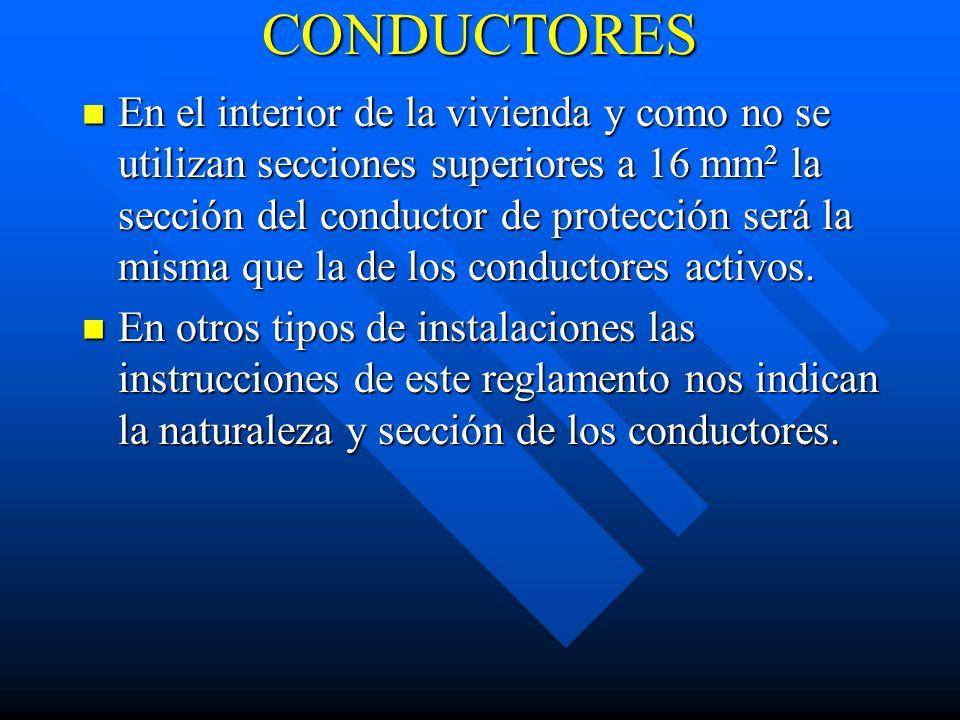 CONDUCTORES En el interior de la vivienda y como no se utilizan secciones superiores a 16 mm 2 la sección del conductor de protección será la misma qu