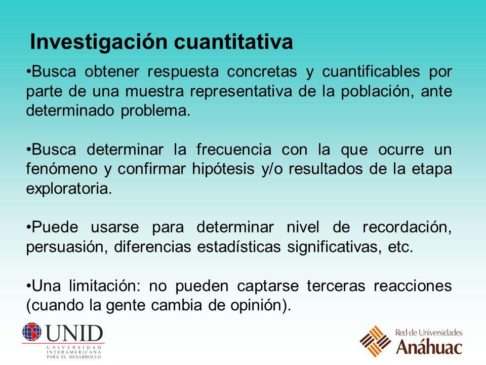 Investigación cuantitativa Busca obtener respuesta concretas y cuantificables por parte de una muestra representativa de la población, ante determinado problema.