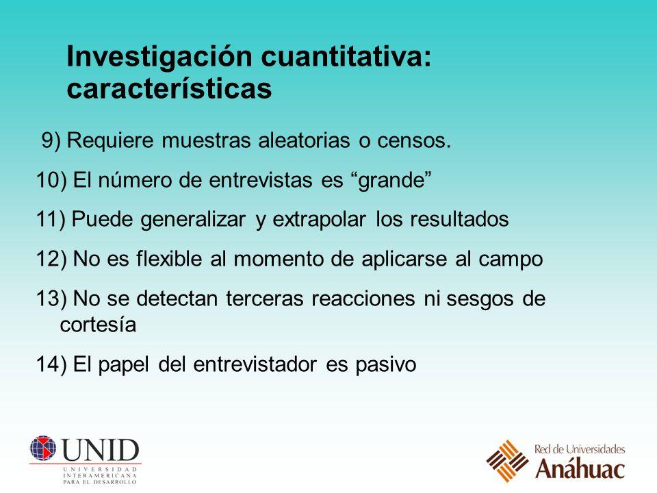 Investigación cuantitativa: características 9) Requiere muestras aleatorias o censos.