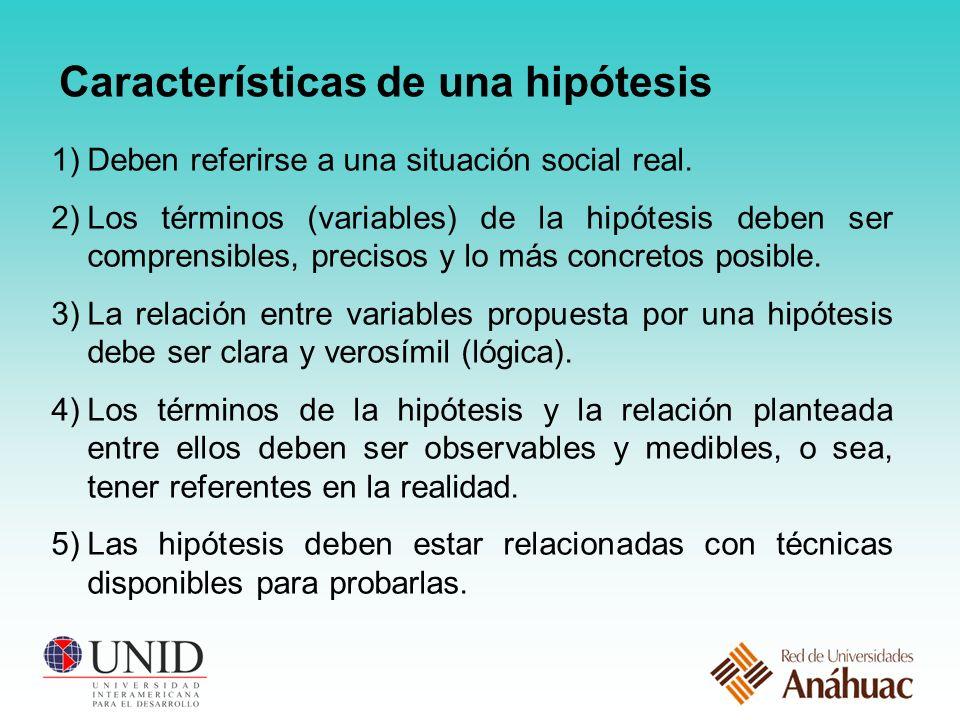 Características de una hipótesis 1)Deben referirse a una situación social real.