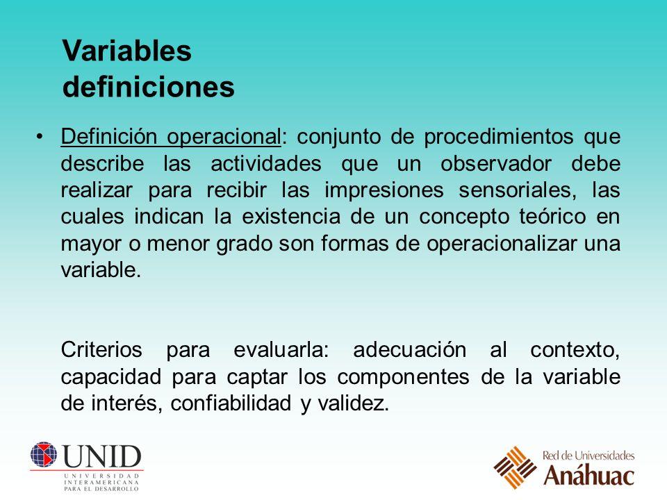 Variables definiciones Definición operacional: conjunto de procedimientos que describe las actividades que un observador debe realizar para recibir las impresiones sensoriales, las cuales indican la existencia de un concepto teórico en mayor o menor grado son formas de operacionalizar una variable.