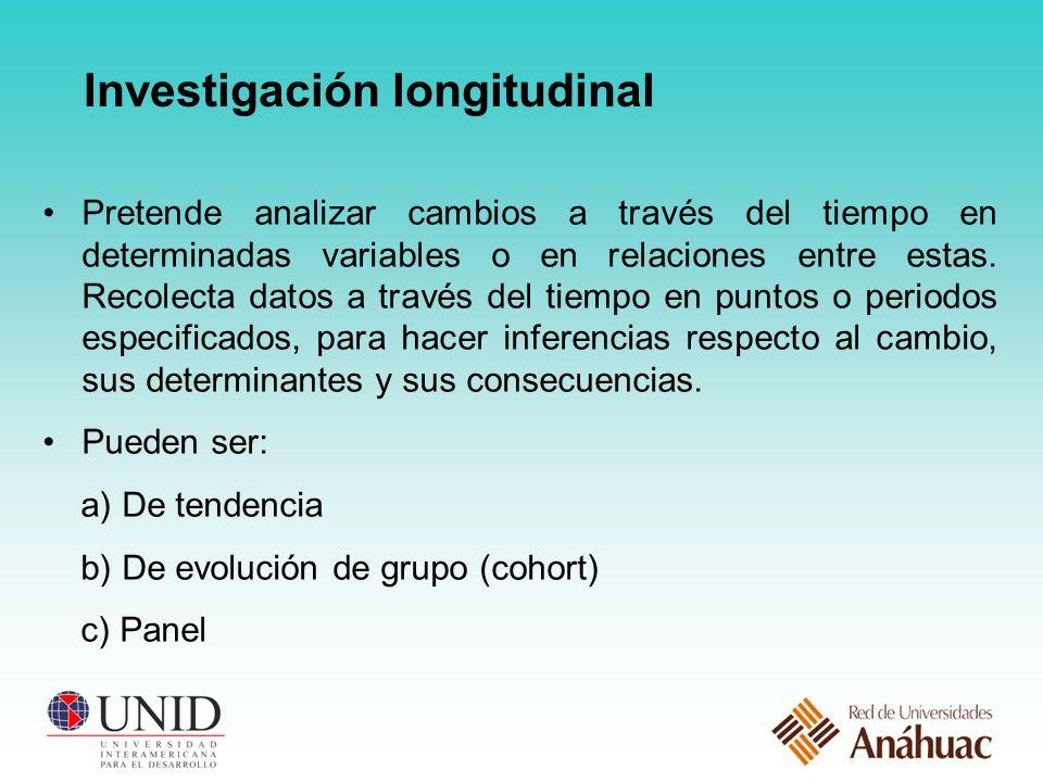 Investigación longitudinal Pretende analizar cambios a través del tiempo en determinadas variables o en relaciones entre estas.