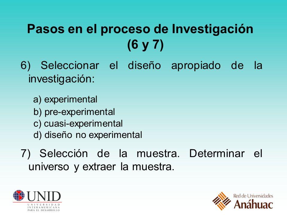 Pasos en el proceso de Investigación (6 y 7) 6) Seleccionar el diseño apropiado de la investigación: a) experimental b) pre-experimental c) cuasi-experimental d) diseño no experimental 7) Selección de la muestra.