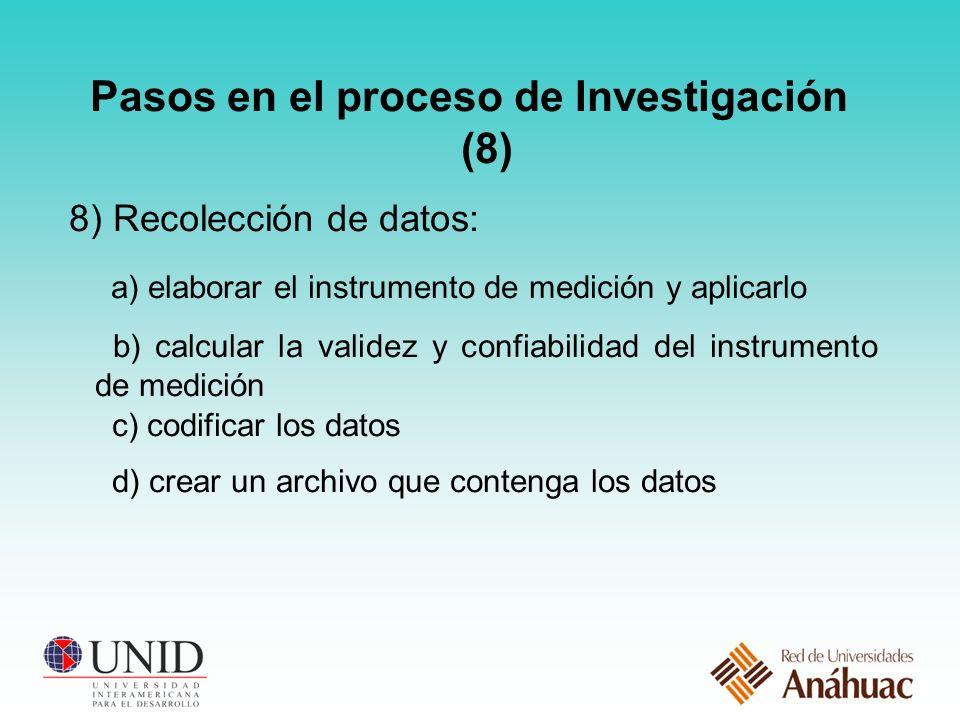 Pasos en el proceso de Investigación (8) 8) Recolección de datos: a) elaborar el instrumento de medición y aplicarlo b) calcular la validez y confiabilidad del instrumento de medición c) codificar los datos d) crear un archivo que contenga los datos