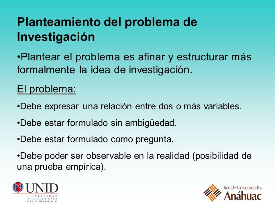 Planteamiento del problema de Investigación Plantear el problema es afinar y estructurar más formalmente la idea de investigación.