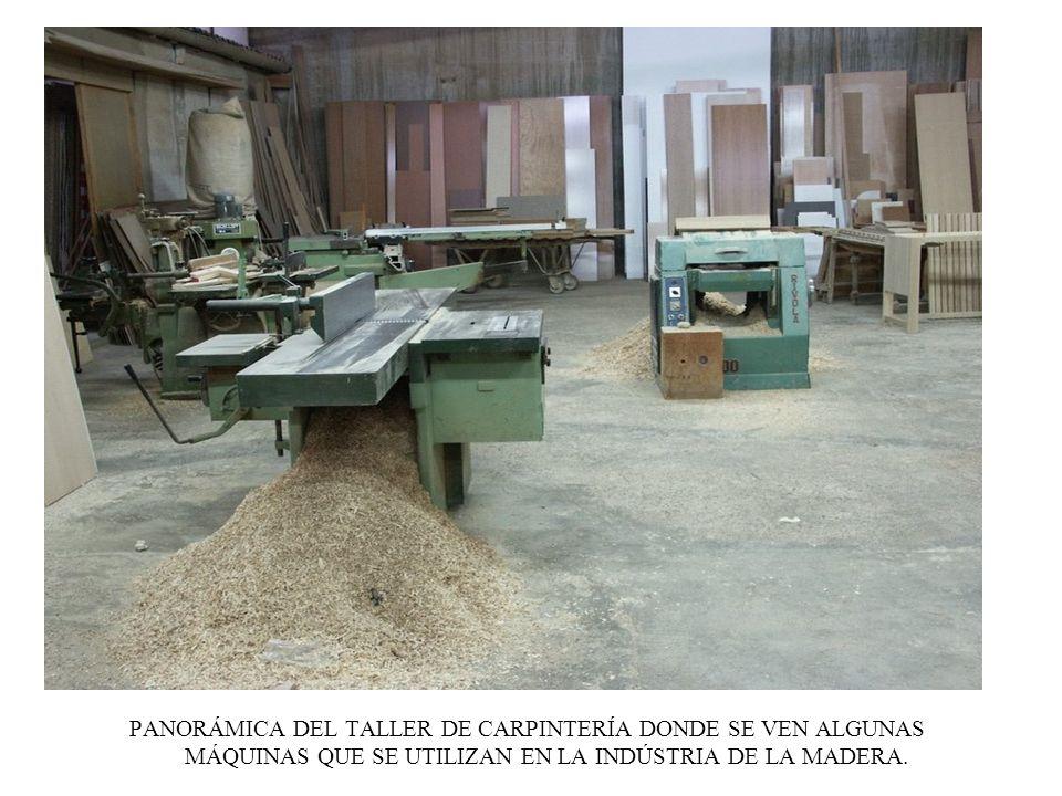 PANORÁMICA DEL TALLER DE CARPINTERÍA DONDE SE VEN ALGUNAS MÁQUINAS QUE SE UTILIZAN EN LA INDÚSTRIA DE LA MADERA.