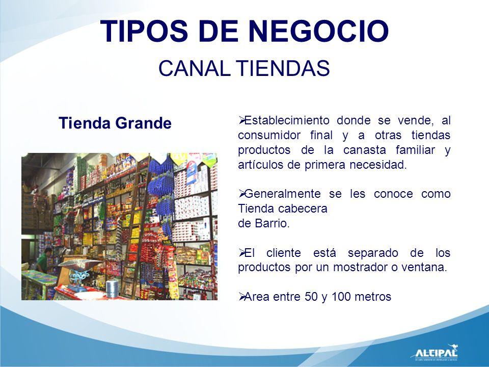 TIPOS DE NEGOCIO CANAL TIENDAS Establecimiento donde se vende, al consumidor final y a otras tiendas productos de la canasta familiar y artículos de p