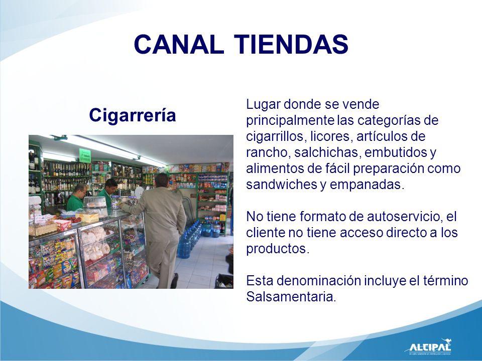 Cigarrería CANAL TIENDAS Lugar donde se vende principalmente las categorías de cigarrillos, licores, artículos de rancho, salchichas, embutidos y alim