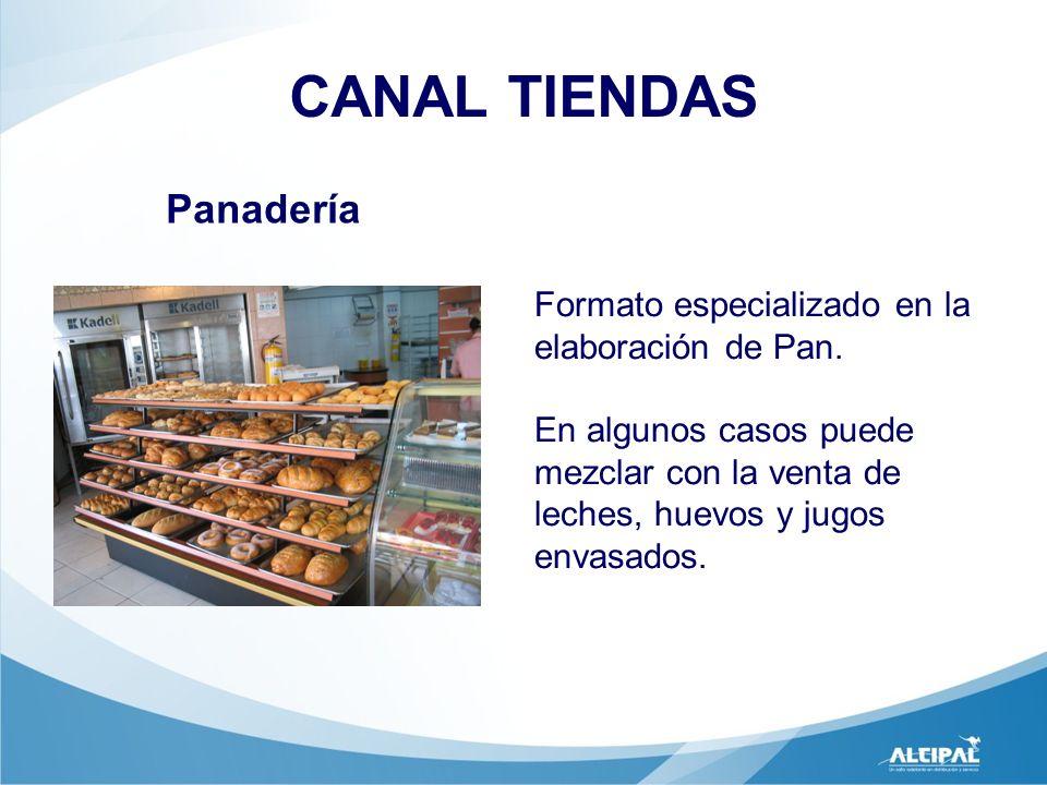 Panadería CANAL TIENDAS Formato especializado en la elaboración de Pan. En algunos casos puede mezclar con la venta de leches, huevos y jugos envasado