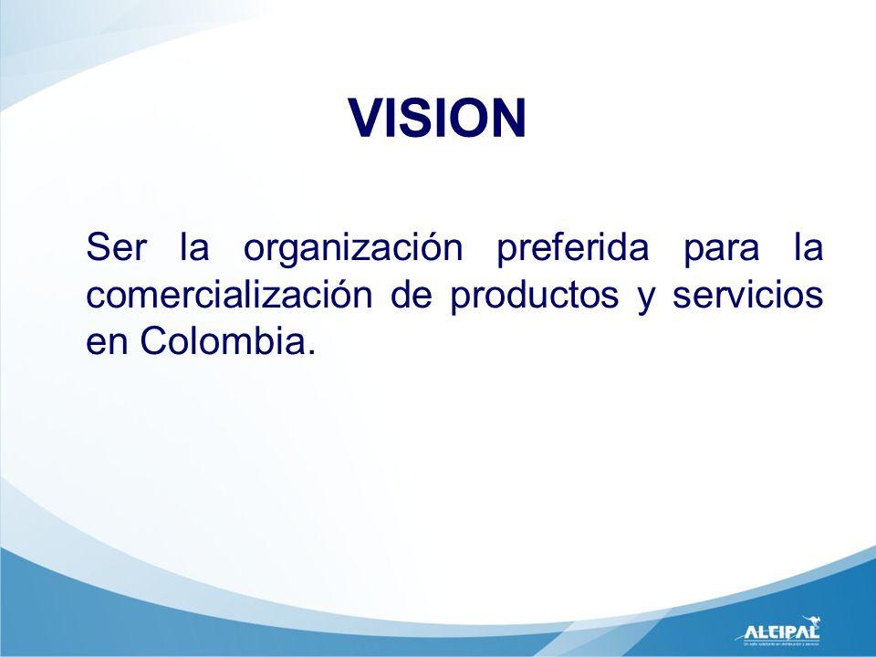 VISION Ser la organización preferida para la comercialización de productos y servicios en Colombia.