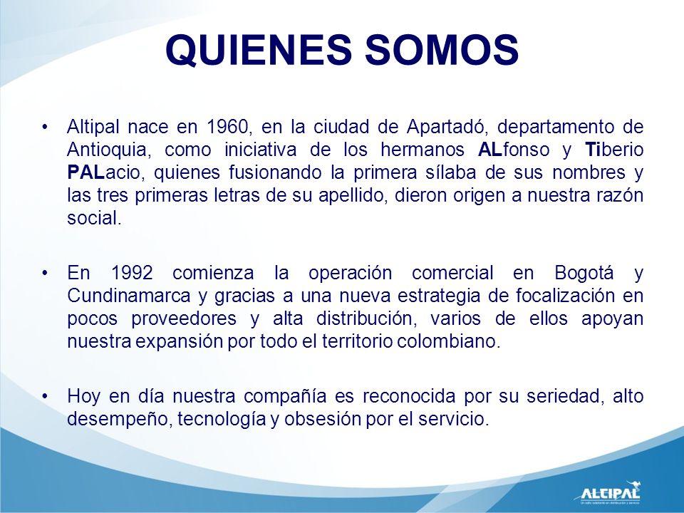 QUIENES SOMOS Altipal nace en 1960, en la ciudad de Apartadó, departamento de Antioquia, como iniciativa de los hermanos ALfonso y Tiberio PALacio, qu