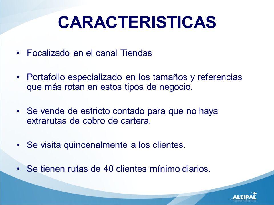 CARACTERISTICAS Focalizado en el canal Tiendas Portafolio especializado en los tamaños y referencias que más rotan en estos tipos de negocio. Se vende