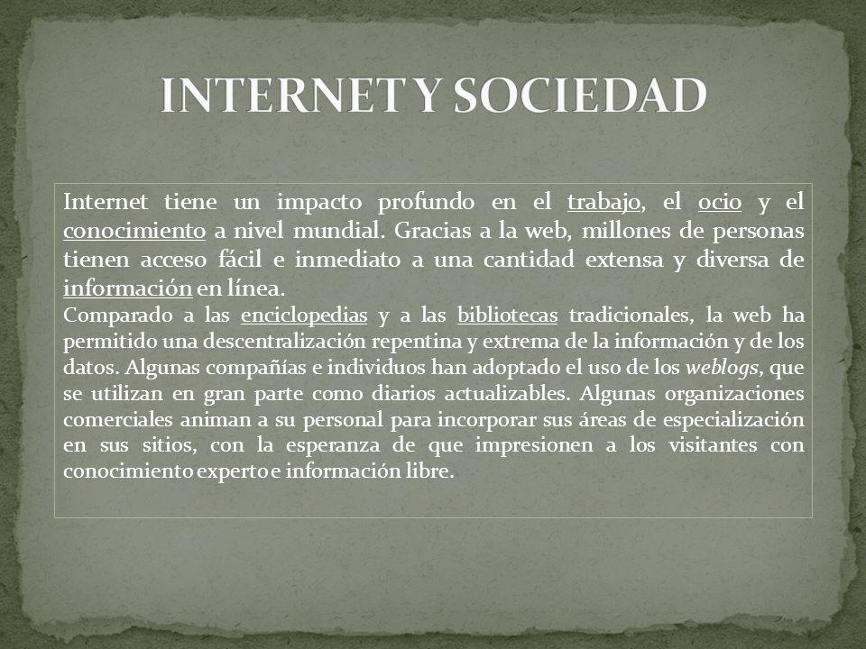 Internet tiene un impacto profundo en el trabajo, el ocio y el conocimiento a nivel mundial. Gracias a la web, millones de personas tienen acceso fáci