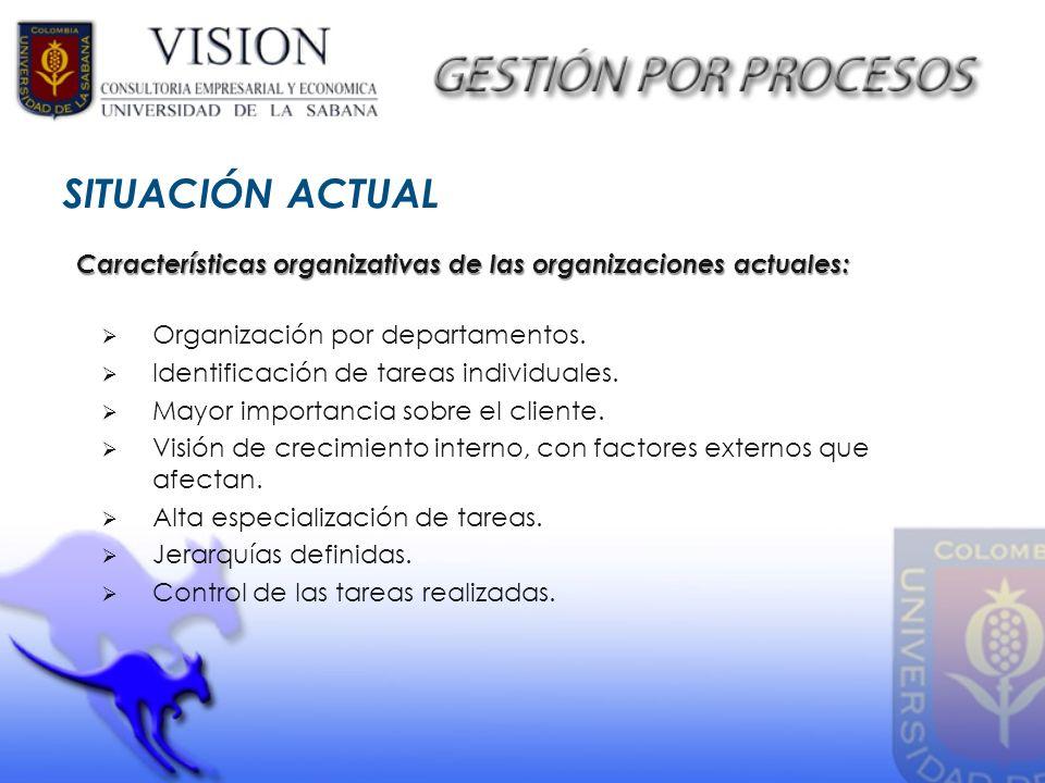 SITUACIÓN ACTUAL Organización por departamentos. Identificación de tareas individuales. Mayor importancia sobre el cliente. Visión de crecimiento inte