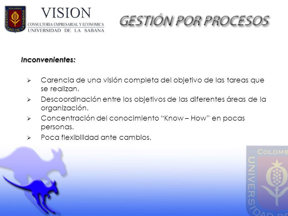 Carencia de una visión completa del objetivo de las tareas que se realizan. Descoordinación entre los objetivos de las diferentes áreas de la organiza