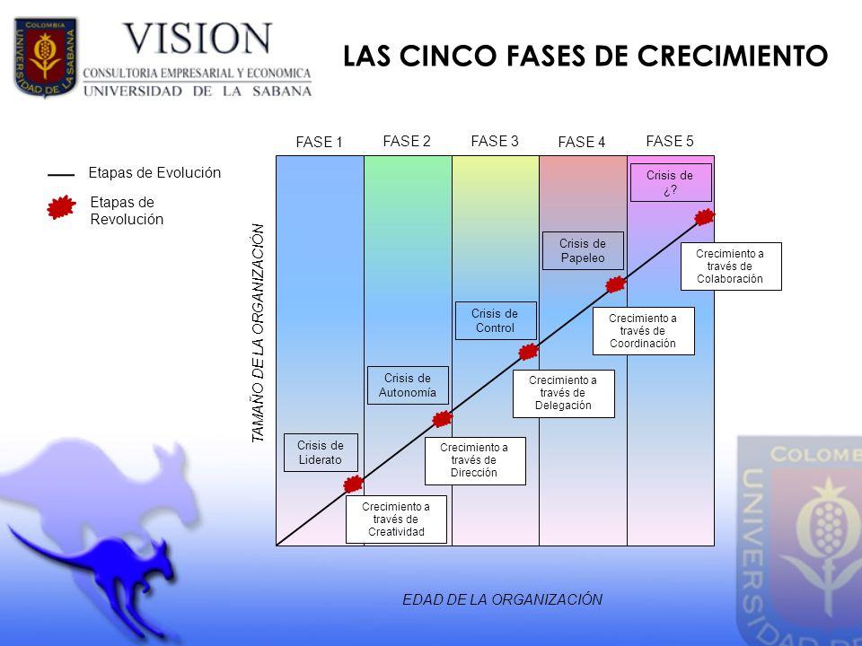 LAS CINCO FASES DE CRECIMIENTO EDAD DE LA ORGANIZACIÓN TAMAÑO DE LA ORGANIZACIÓN FASE 1 FASE 2FASE 3 FASE 4 FASE 5 Etapas de Evolución Etapas de Revol