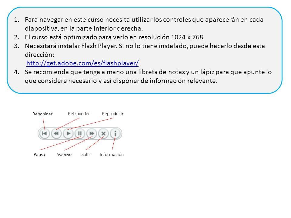 Rebobinar RetrocederReproducir Pausa Avanzar SalirInformación 1.Para navegar en este curso necesita utilizar los controles que aparecerán en cada diap