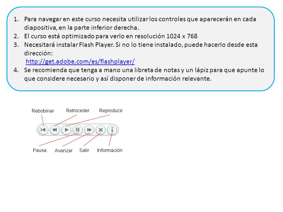 Rebobinar RetrocederReproducir Pausa Avanzar SalirInformación 1.Para navegar en este curso necesita utilizar los controles que aparecerán en cada diapositiva, en la parte inferior derecha.