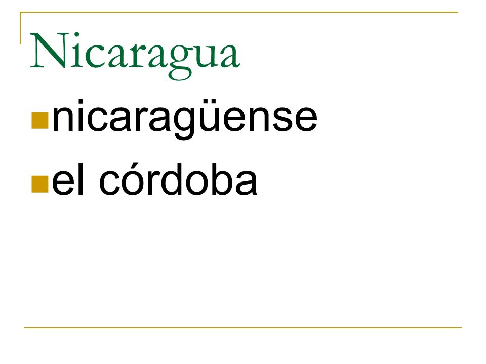 Nicaragua nicaragüense el córdoba