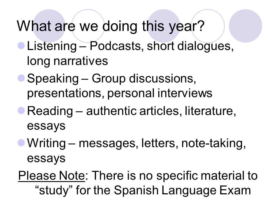 AP Exam Practice Most classes will begin with exam practice Brief message – interpersonal writing Short Dialogue – followed by multiple choice questions for comprehension Reading – authentic articles, comprehension and note-taking Interpersonal Conversation Long Narrative – comprehension and note- taking