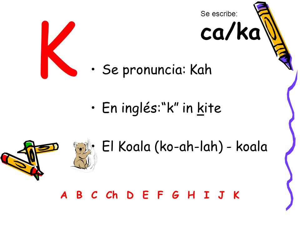 K Se pronuncia: Kah En inglés:k in kite El Koala (ko-ah-lah) - koala A B C Ch D E F G H I J K Se escribe: ca/ka