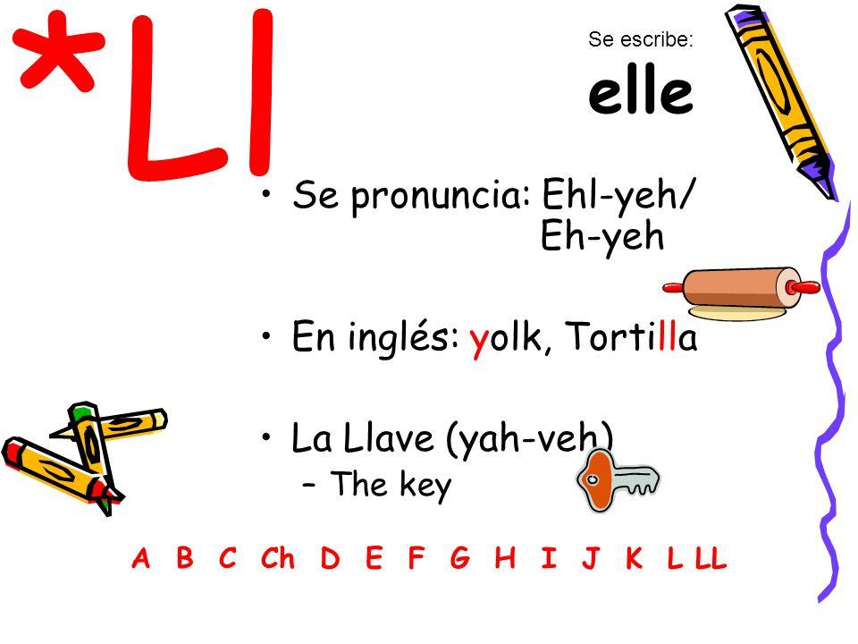 *Ll Se pronuncia: Ehl-yeh/ Eh-yeh En inglés: yolk, Tortilla La Llave (yah-veh) –The key A B C Ch D E F G H I J K L LL Se escribe: elle