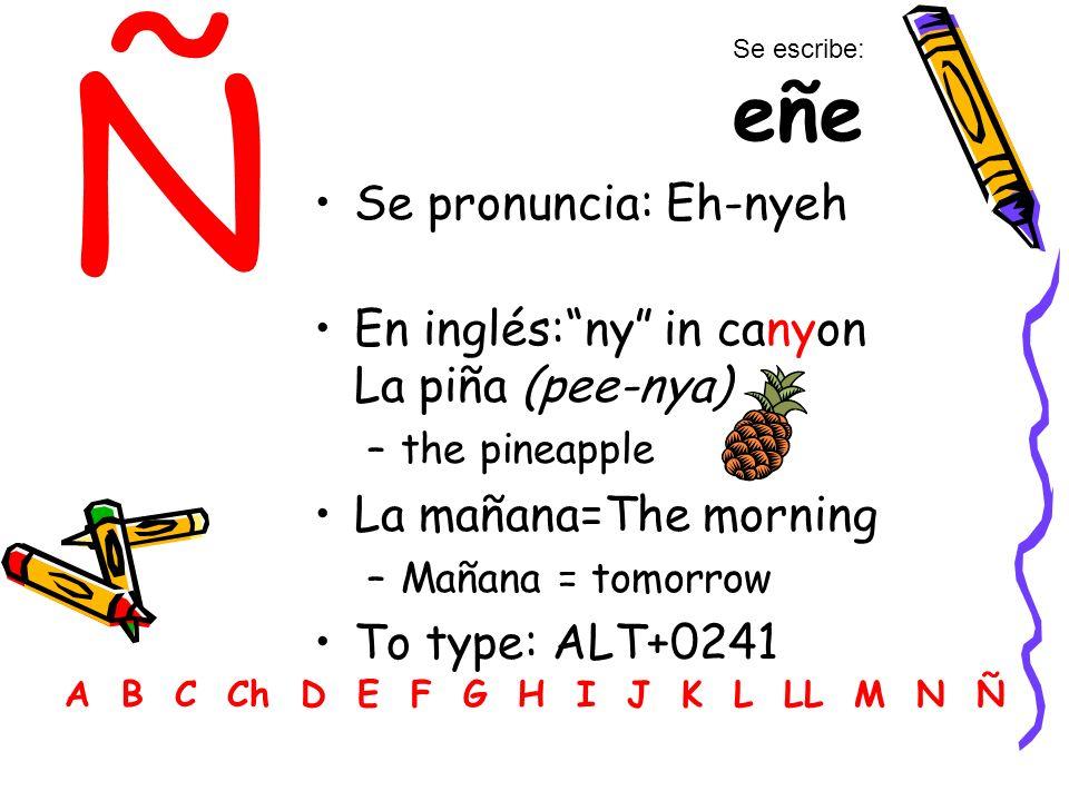 Ñ Se pronuncia: Eh-nyeh En inglés:ny in canyon La piña (pee-nya) –the pineapple La mañana=The morning –Mañana = tomorrow To type: ALT+0241 A B C Ch D E F G H I J K L LL M N Ñ Se escribe: eñe