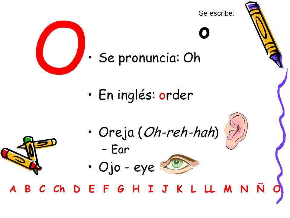 O Se pronuncia: Oh En inglés: order Oreja (Oh-reh-hah) –Ear Ojo - eye A B C Ch D E F G H I J K L LL M N Ñ O Se escribe: o